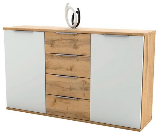 SIDEBOARD Eichefarben, Weiß - Eichefarben/Alufarben, KONVENTIONELL, Holzwerkstoff/Kunststoff (150/90/38cm) - Carryhome