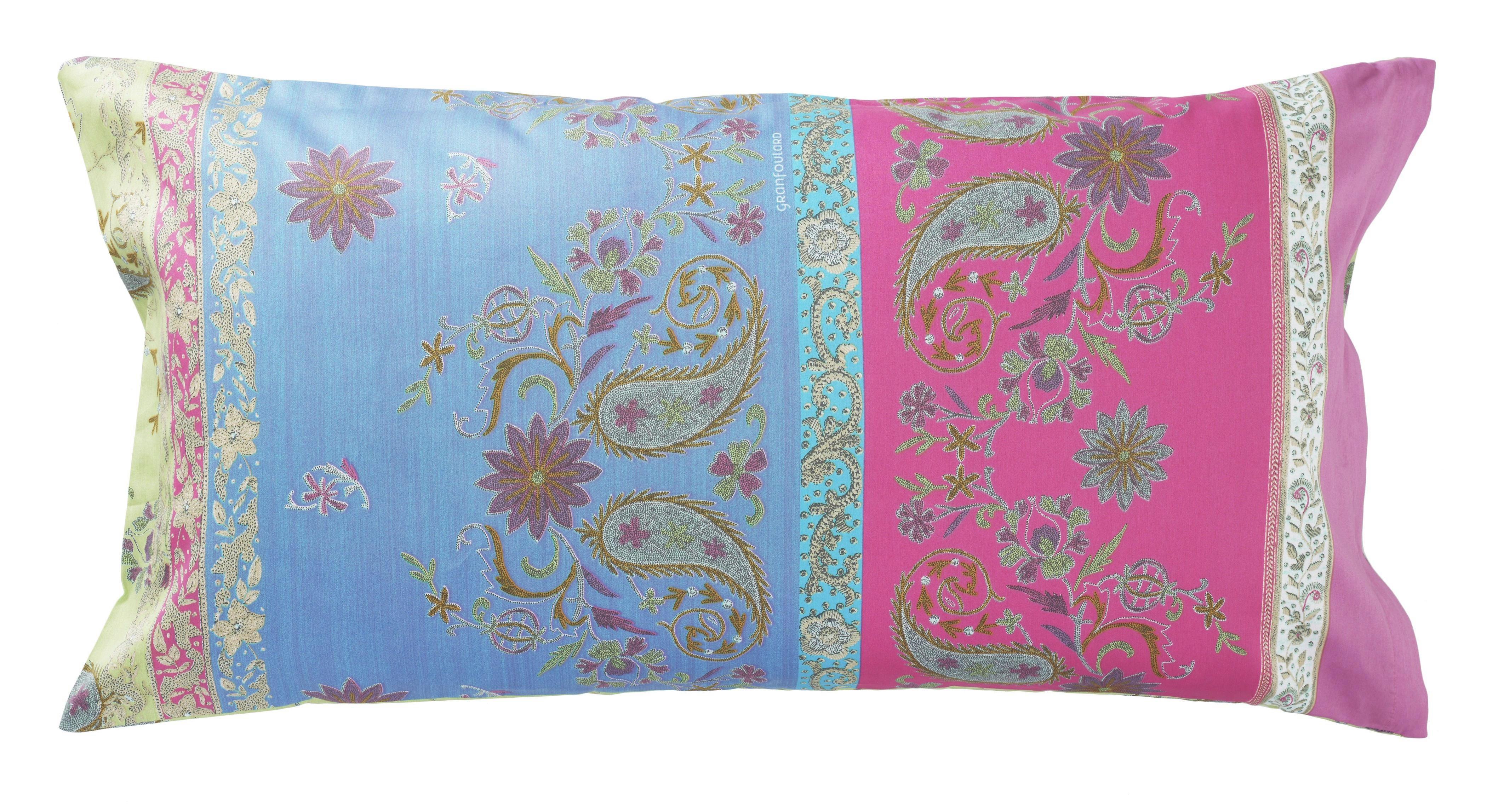 KISSENHÜLLE Blau, Grün, Pink - Blau/Pink, LIFESTYLE, Textil (40/80cm) - BASSETTI
