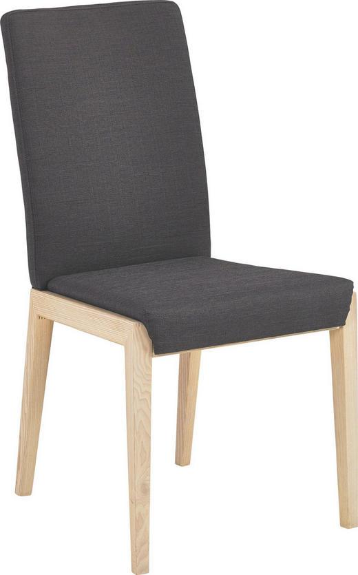 STUHL Kernesche massiv Dunkelgrau, Eschefarben - Dunkelgrau/Eschefarben, Design, Holz/Textil (48/94/61cm) - Venda