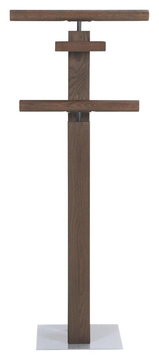HERRENDIENER Dunkelbraun, Edelstahlfarben - Edelstahlfarben/Dunkelbraun, KONVENTIONELL, Holz/Metall (45/107/28cm) - Hasena