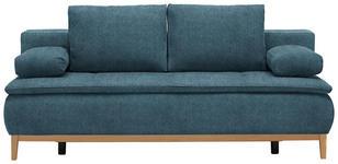 BOXSPRINGSOFA in Textil Blau  - Blau/Eichefarben, MODERN, Holz/Textil (202/78/93/100cm) - Venda