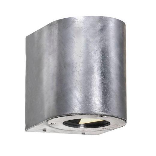 WANDLEUCHTE - Zinkfarben, Design, Glas/Metall (9/11cm)