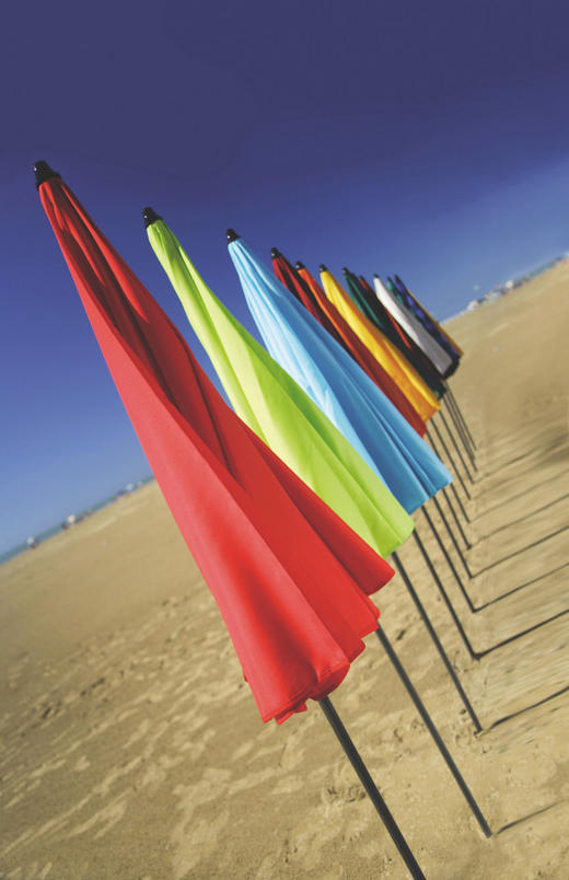 SONNENSCHIRM 180 cm Grün, Naturfarben, Orange, Rot - Anthrazit/Rot, KONVENTIONELL, Textil/Metall (180cm)