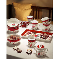 SET 2/1 ZA MLEKO IN SLADKOR - rdeča/večbarvno, Konvencionalno, keramika (0,325/0,25l) - X-Mas