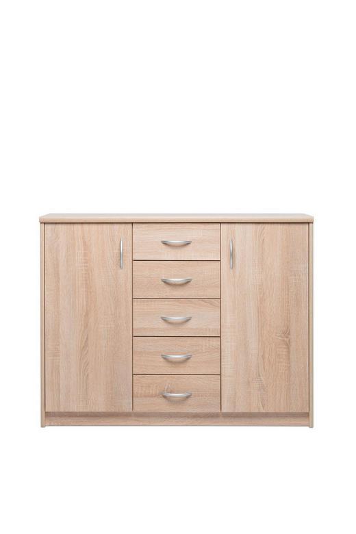 KOMMODE Eichefarben - Eichefarben/Alufarben, KONVENTIONELL, Holzwerkstoff/Kunststoff (109/85/35cm) - Carryhome