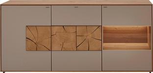 SIDEBOARD in vollmassiv Kerneiche Eichefarben, Fango - Fango/Eichefarben, Natur, Glas/Holz (175/80,5/49cm) - VALNATURA