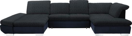 WOHNLANDSCHAFT in Textil Blau, Schwarz - Chromfarben/Blau, Design, Kunststoff/Textil (204/350/211cm) - Xora