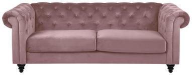 CHESTERFIELD-SOFA in Textil Schwarz, Altrosa  - Schwarz/Altrosa, KONVENTIONELL, Holz/Textil (219/88/78cm) - Carryhome