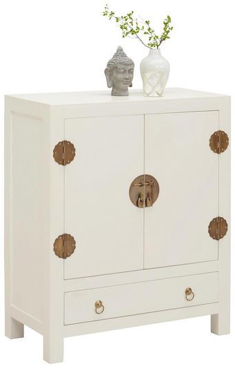 KOMODA - bílá/barva mosaz, Trend, kov/dřevo (70/85/35cm)