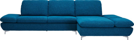 WOHNLANDSCHAFT Chenille, Flachgewebe Rücken echt, Sitztiefenverstellung - Silberfarben/Petrol, Design, Textil (314/203cm) - Chilliano