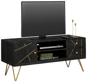 MEDIABÄNK - svart/guldfärgad, Trend, metall/trä (130/57/53cm) - Carryhome
