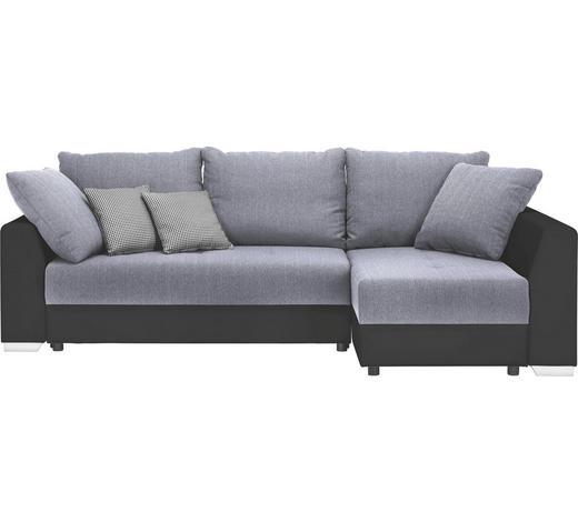 WOHNLANDSCHAFT Schwarz, Hellgrau Webstoff - Hellgrau/Schwarz, Design, Kunststoff/Textil (253/155cm) - Ti`me