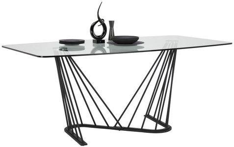 MATBORD - klar/svart, Design, metall/glas (180/100/76cm) - Lomoco