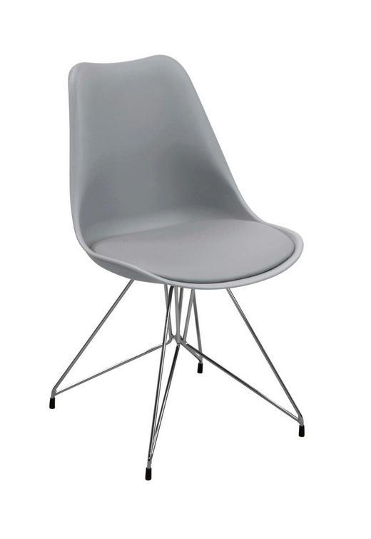 STUHL Lederlook Grau - Chromfarben/Grau, Design, Kunststoff/Textil (49/83/54cm) - Ambia Home