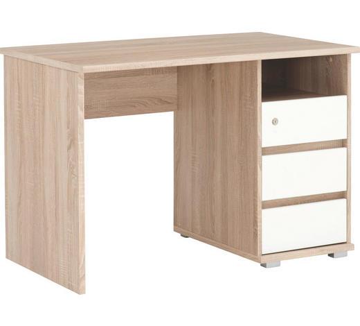 SCHREIBTISCH - Weiß/Sonoma Eiche, KONVENTIONELL, Holzwerkstoff (110/75/65cm) - Xora