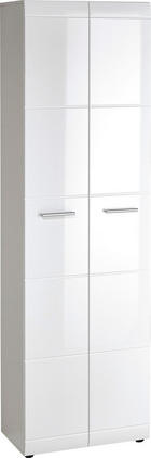 GARDEROBENSCHRANK Hochglanz, lackiert Weiß - Silberfarben/Weiß, Design, Holzwerkstoff/Kunststoff (59/197/37cm) - Carryhome