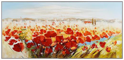 Abstraktes, Blumen, Landschaft & Natur, Pflanzen BILD - Multicolor, LIFESTYLE, Holz/Textil (150/70cm) - Monee