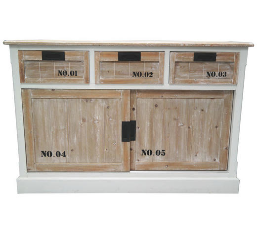 SIDEBOARD lackiert Braun, Weiß  - Braun/Weiß, Basics, Holz (120/80/40cm)
