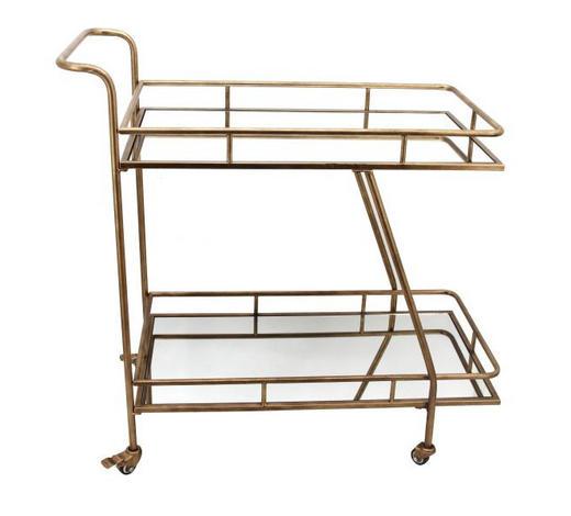 SERVIERWAGEN Metall, Glas Goldfarben  - Goldfarben, Basics, Glas/Metall (92/46,5/90cm) - Ambia Home