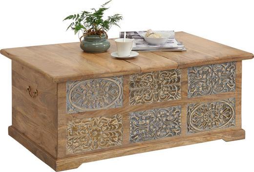 TRUHE Holz Mangoholz massiv - Hellbraun/Hellgrau, Trend, Holz (110/45/70cm) - Ambia Home