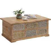 TRUHLA, dřevo, mangové dřevo, masivní,  - světle šedá/přírodní barvy, Trend, dřevo (110/45/70cm) - Ambia Home