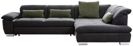 WOHNLANDSCHAFT in Textil Dunkelgrau  - Chromfarben/Dunkelgrau, Design, Textil (313/242cm) - Xora