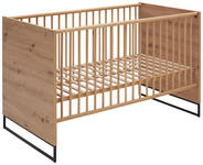 GITTERBETT Yunai  - Eichefarben/Anthrazit, Trend, Holzwerkstoff/Metall (144/78/84cm) - My Baby Lou