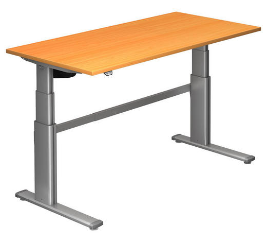 SCHREIBTISCH - Silberfarben/Buchefarben, Design, Holzwerkstoff/Metall (160/66-130/80cm)