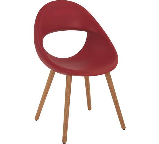 STUHL in Holz, Kunststoff Rot, Eichefarben - Eichefarben/Rot, Design, Holz/Kunststoff (53/87/55cm)