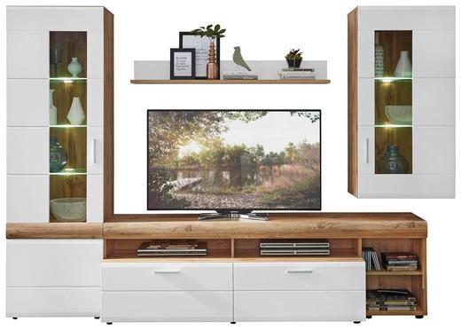 WOHNWAND Eichefarben, Weiß - Eichefarben/Silberfarben, Design, Glas/Holzwerkstoff (280/193/49cm) - XORA
