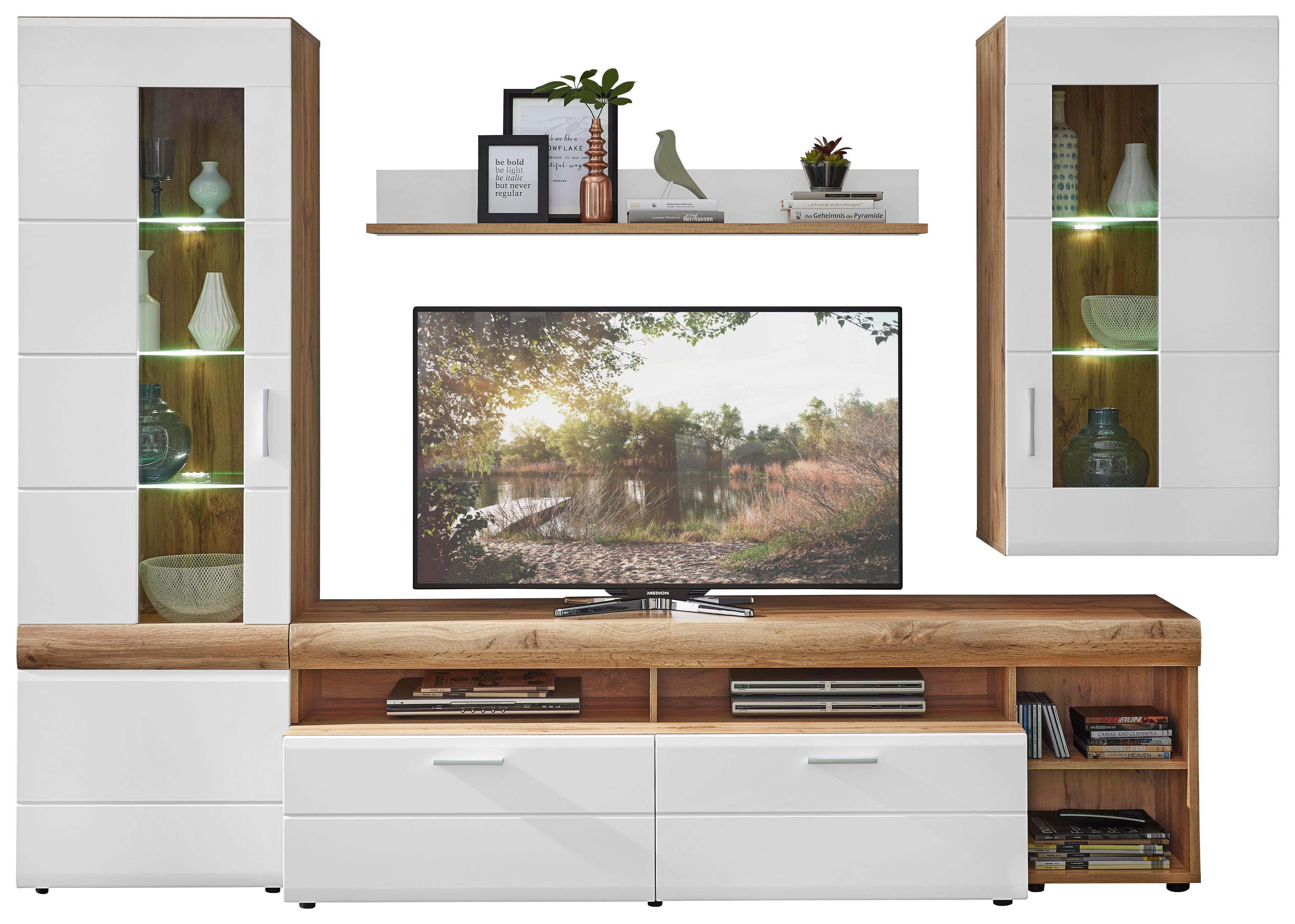 WOHNWAND Eichefarben, Weiß   Eichefarben/Silberfarben, Design,  Glas/Holzwerkstoff (280
