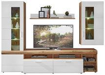 Wohnwand in Weiß, Eichefarben  - Eichefarben/Silberfarben, Konventionell, Glas/Holzwerkstoff (280/192/51cm) - Xora