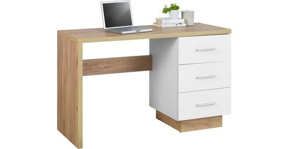 SCHREIBTISCH - Eichefarben/Alufarben, Basics, Holzwerkstoff/Kunststoff (120/75/50cm) - Hom`in