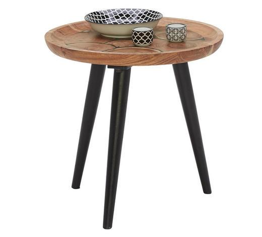 BEISTELLTISCH in Holz 46/46/46 cm - Schwarz/Akaziefarben, Trend, Holz (46/46/46cm) - Ambia Home