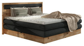 BOXSPRINGBETT Webstoff 180/200 cm  INKL. Topper  - Eichefarben/Anthrazit, KONVENTIONELL, Holz/Holzwerkstoff (180/200cm) - Valnatura