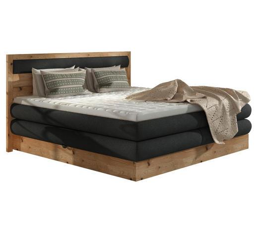 POSTEL BOXSPRING, tkaná látka, 180/200 cm, topper - barvy dubu/antracitová, Natur, dřevo/kompozitní dřevo (180/200cm) - Valnatura