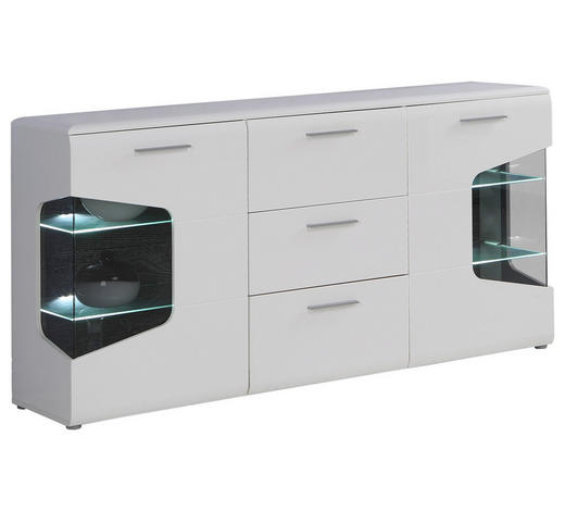 SIDEBOARD Hochglanz Weiß, Eichefarben  - Eichefarben/Alufarben, Design, Glas/Metall (180/89/41cm) - Hom`in