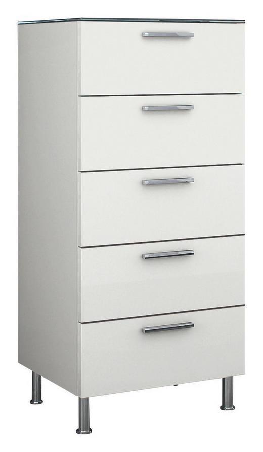 KOMMODE Weiß - Chromfarben/Weiß, Design, Glas/Metall (50/96,9/40,1cm) - Hülsta