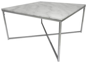 SOFFBORD - vit/kromfärg, Design, metall/sten (80/80/46cm)
