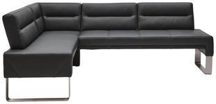 ECKBANK 171/236 cm  in Graphitfarben, Edelstahlfarben  - Edelstahlfarben/Dunkelgrau, Design, Leder/Metall (171/236cm) - Dieter Knoll
