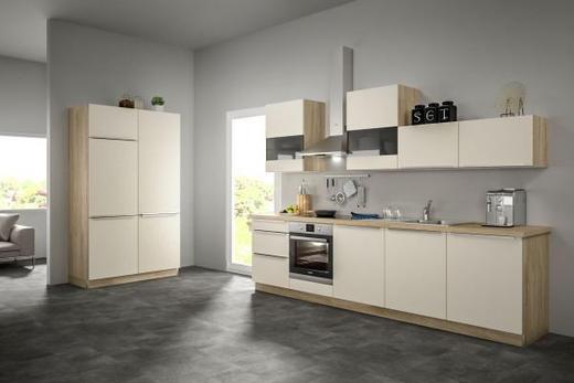 Eckküche ohne E-Geräte Soft-Close-System, Spüle - Eichefarben/Magnolie, Design (120+300cm) - SetOne by Musterring