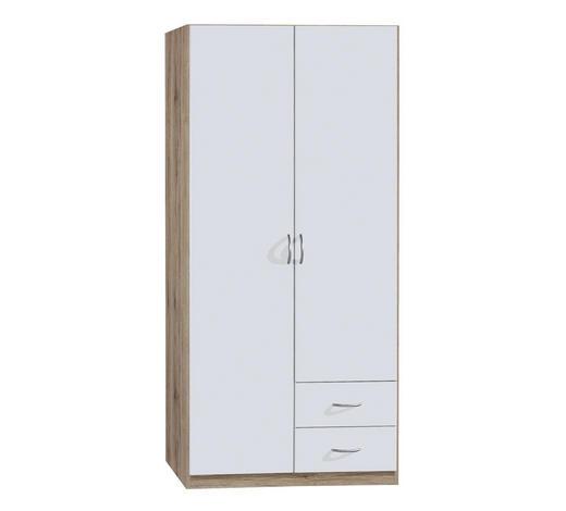 KLEIDERSCHRANK 2-türig Weiß, Eichefarben  - Eichefarben/Silberfarben, KONVENTIONELL, Holzwerkstoff/Kunststoff (91/197/54cm) - Carryhome