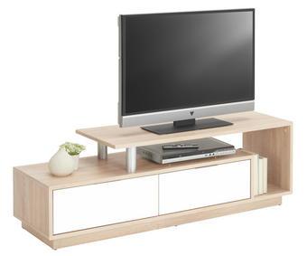 TV-ELEMENT in Eichefarben, Weiß - Eichefarben/Alufarben, Design, Holzwerkstoff/Kunststoff (138/45,5/40cm) - BOXXX