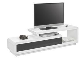 MEDIABÄNK - vit/svart, Design, träbaserade material (170/40/45cm) - Xora