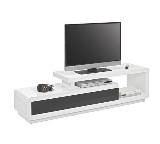 KOMODA LOWBOARD, černá, bílá - bílá/černá, Design, kompozitní dřevo (170/40/45cm) - Xora