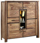 HIGHBOARD Sheesham massiv Sheeshamfarben  - Sheeshamfarben/Naturfarben, LIFESTYLE, Glas/Holz (150/150/45cm) - Landscape