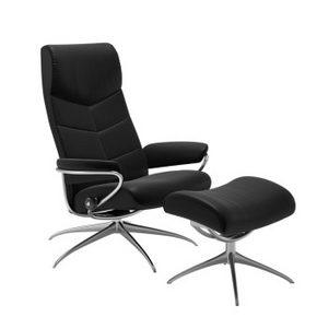 FÅTÖLJ OCH PALL - kromfärg/svart, Design, metall/läder (80/116/71cm) - Stressless