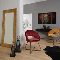 STUHL in Metall, Textil, Holzwerkstoff Braun, Goldfarben  - Goldfarben/Braun, LIFESTYLE, Holzwerkstoff/Textil (63/81/56cm) - Ambia Home