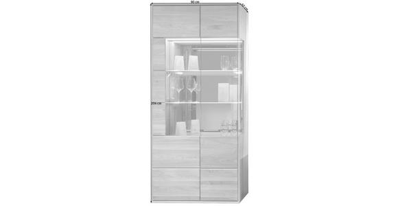VITRINE  in furniert, massiv Asteiche Eichefarben - Eichefarben/Silberfarben, KONVENTIONELL, Glas/Holz (90/204/40cm) - Voleo