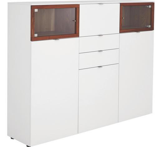 HIGHBOARD Nussbaum massiv geölt, Mattlack Weiß, Nussbaumfarben  - Nussbaumfarben/Alufarben, Design, Holz/Kunststoff (180/139/43cm) - Venjakob